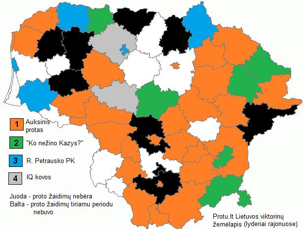 Protų kovų žemėlapis pagal stipriausias rajone